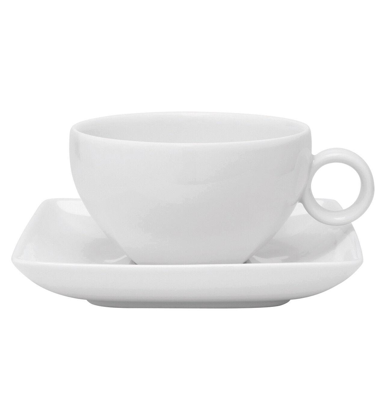 Vista Alegre Quadrata Tè Bianco Tazza e Piattino - Set di 8