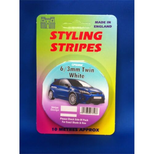 Twin Stripes 10m 6mm 3mm Length Castle Styling 6mm-3mm White Stripe Car Decal