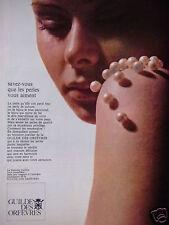 PUBLICITÉ 1968 GUILDE DES ORFÈVRES LES PERLES DE CULTURE - ADVERTISING