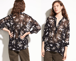 Vince  Tossed Floral Shirrot Silk Blouse; S
