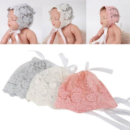 Kids Newborn Girls Baby Lace Bow Flower Princess Floral Bonnet Hat Cap x 1