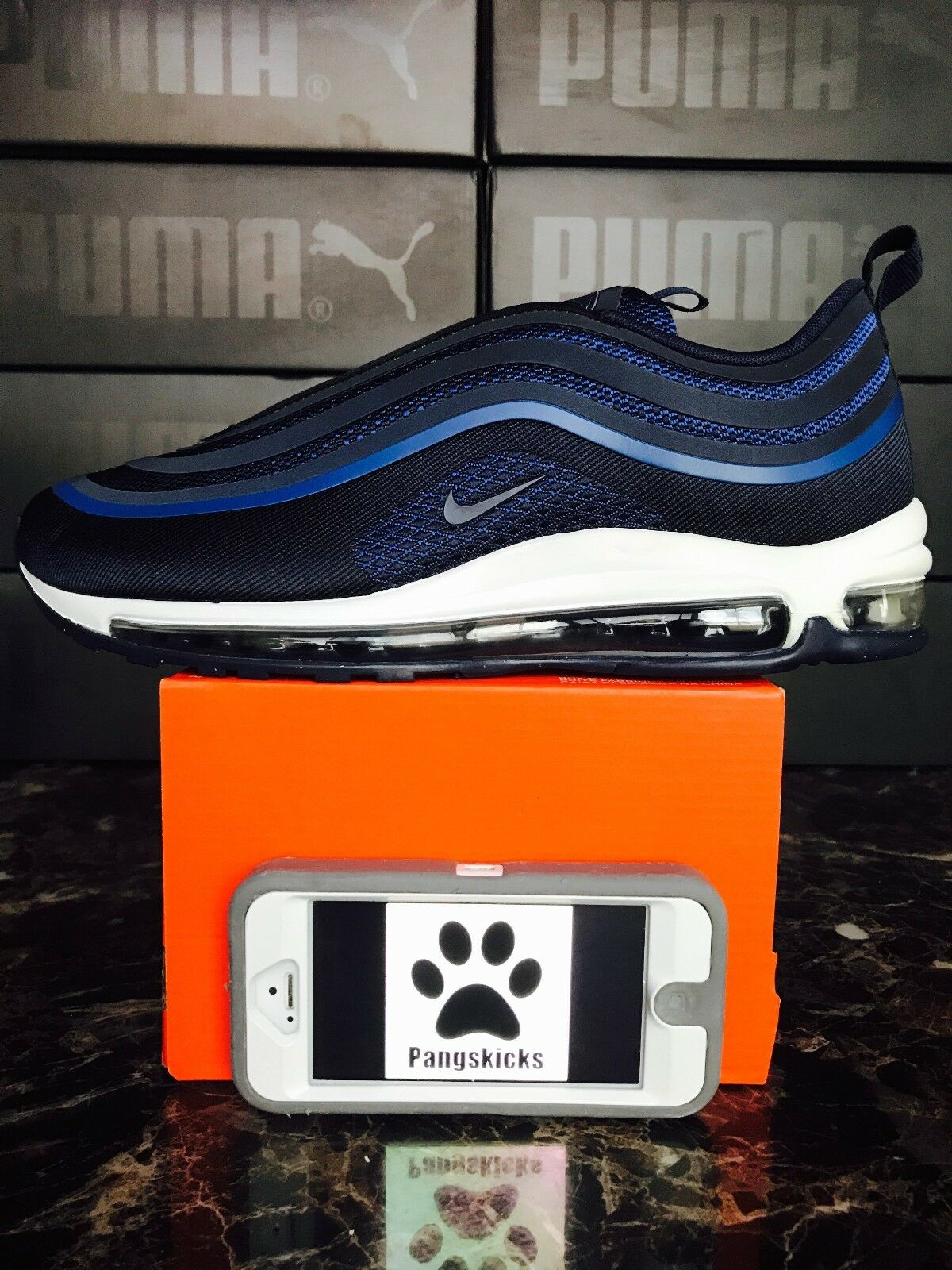 Nike Air Max 97 Ultra '17 Obsidian Navy Blue 918356-401 Size 9 Sample Unreleased