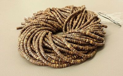 10 Strands Brown Coconut Heishi Beads (4 - 5 mm, 24 Inches Strand)