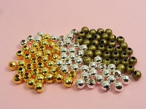 200-x-Smooth-ROUND-Metal-Spacer-BEADS-Findings-3mm-4mm-SILVER-GOLD-BRONZE
