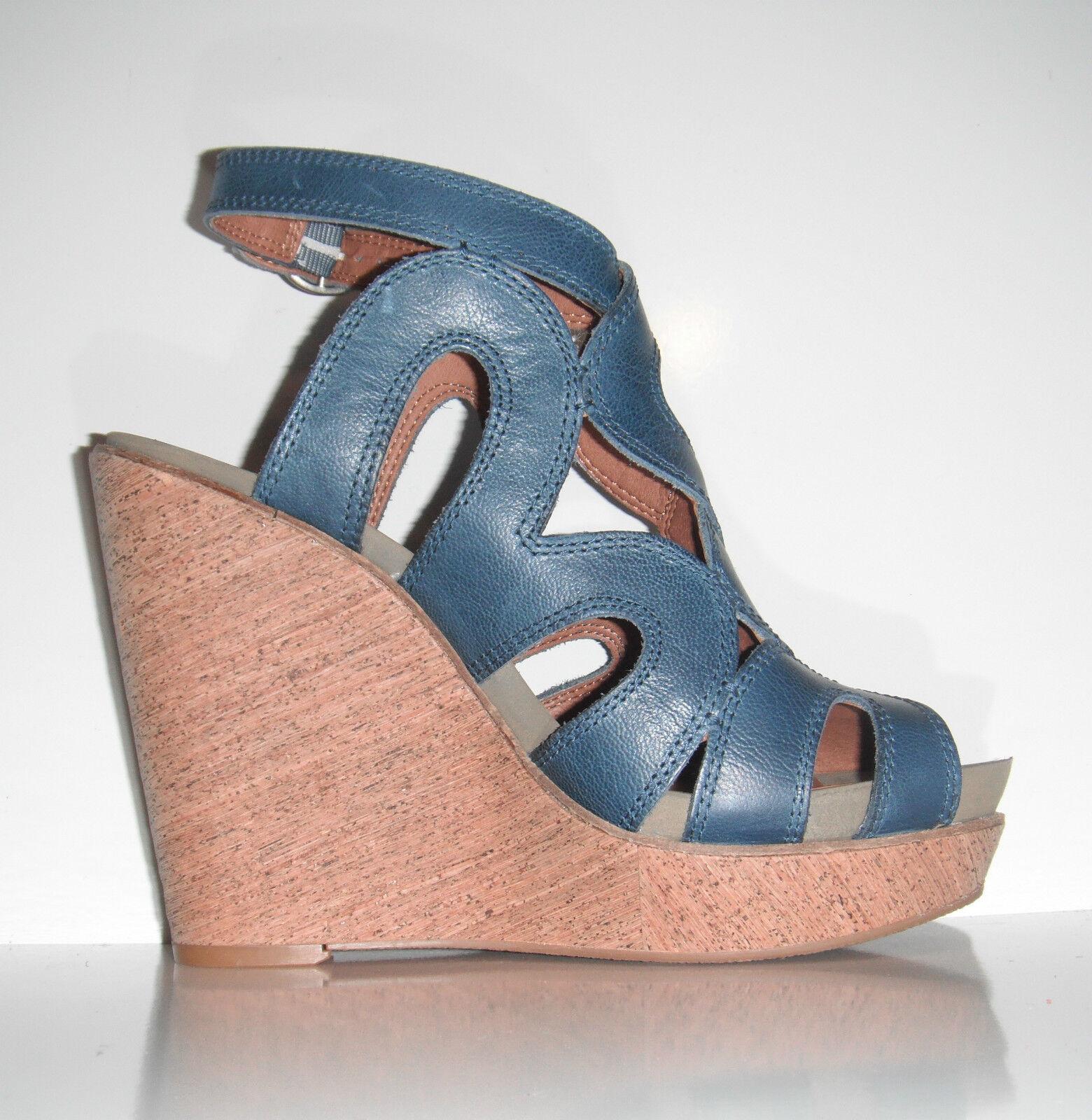 109 NIB Lucky Brand Penrose Stellar bleu Leather Platform Sandal chaussures sz 9.5M