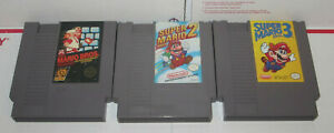 AUTHENTIC-Nintendo-NES-Super-Mario-Bros-Trilogy-1-2-3-Games-Lot-TESTED-Work-Nice