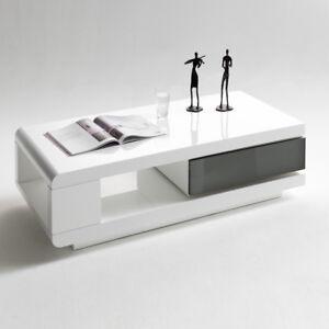 Couchtisch Vision Wohnzimmertisch Weiß Hochglanz mit Schublade   eBay