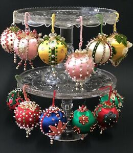 Vintage-Handmade-Christmas-Satin-Beaded-Ornaments-Beads-Push-Pins-Lot-of-12