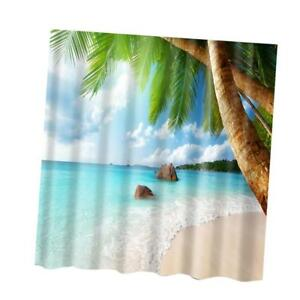 Image Is Loading Retro Shower Curtain Sea Beach Polyester Panel Hanging