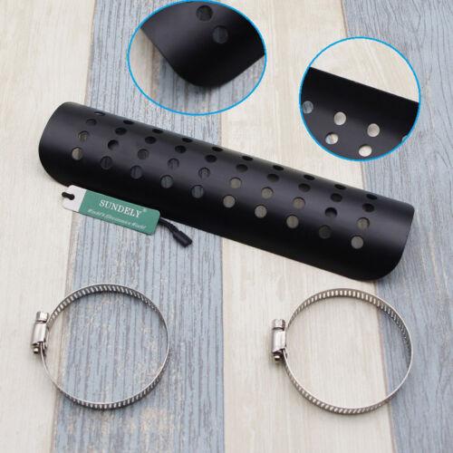"9/"" Motorcycle Black Exhaust Muffler Pipe Heat Shield Cover Universal Guard Rear"