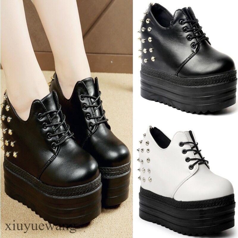 Punk Womens Rivet Studs Platform shoes Lace Up Pu Leather Hidden Wedge Heel Size