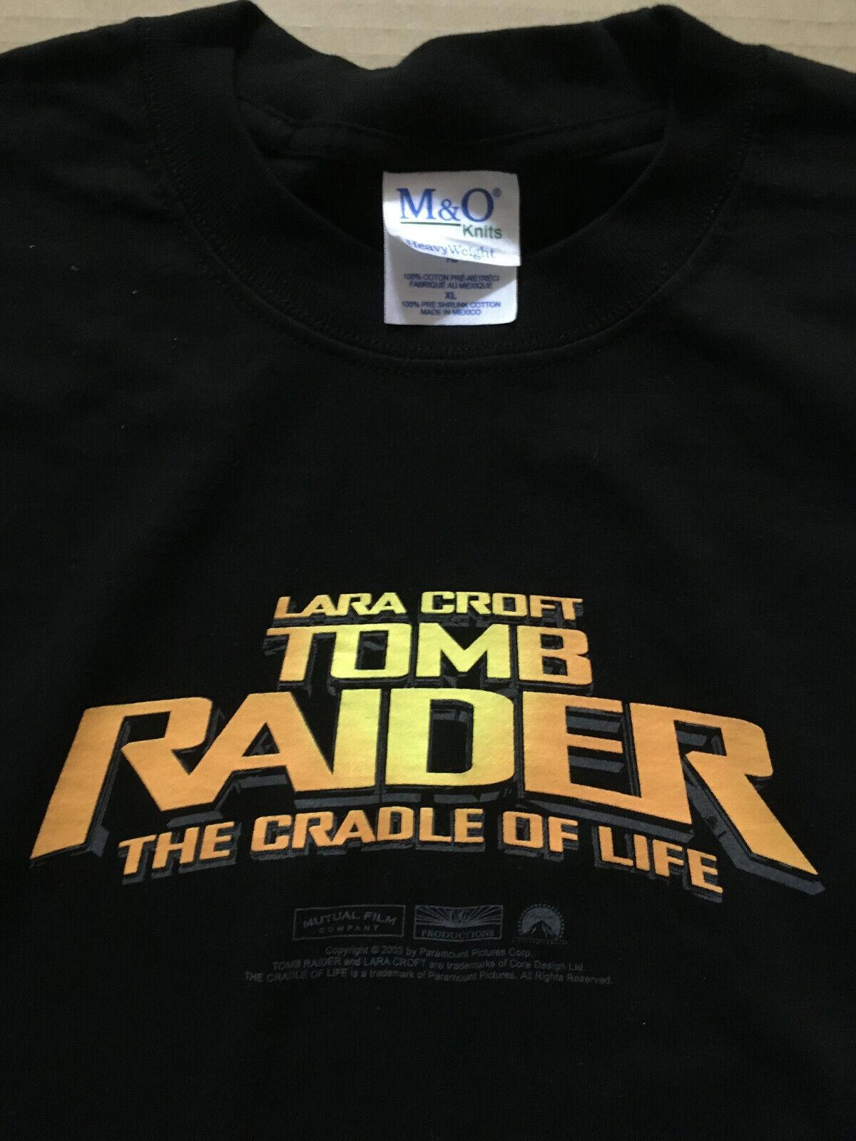 Angelina Jolie TOMB RAIDER Cradle Of Life Rare 2003 PROMO T SHIRT w/ TAG CD NEW