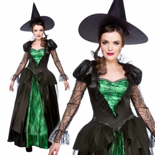 Adult Emerald Green Gothic Witch Fancy Dress Costume Halloween Ladies UK 6-24