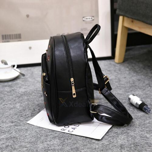 Women Girl PU Backpack Travel Leather Handbag Rucksack Shoulder School Bag 3Pcs