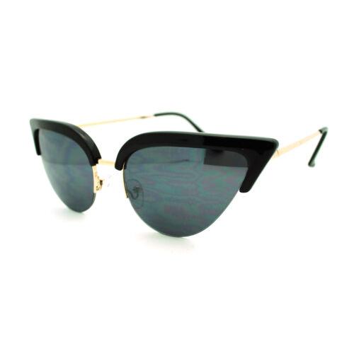 Womens Mod Half Rim Cat Eye 20s Retro Fashion Goth Sunglasses