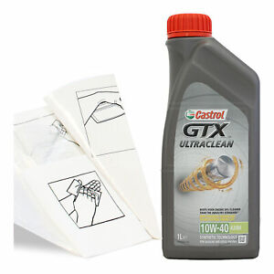 Engine-Oil-Top-Up-1-LITRE-Castrol-GTX-10w-40-A3-B4-1L-Gloves-Wipes-Funnel