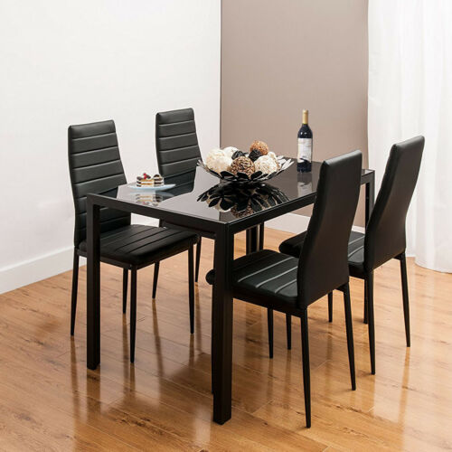 Black Glass Gloss Dining Table and 4 ChairS Set Kitchen Dining Room Furniture UK