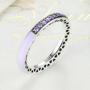 e92905c8c Image is loading 925-silver-sterling-Sparkling-purple-Radiant-Hearts-of-