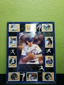 NOLAN-RYAN-AUTOGRAPHED-SIGNED-8X10-PHOTO-TEXAS-RANGERS-BLOODY-FRAMED-9-CARDS