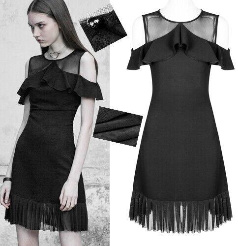 Robe gothique lolita charleston volants plissé voilage fashion été PunkRave black