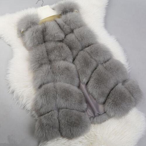 Womens Winter Warm Faux Fur Gilet Vest Sleeveless Waistcoat Jacket Coat Outwear