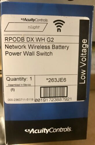 New in Box Acuity nLIGHT RPODB DX WH G2 Network Wireless Battery Wall Switch