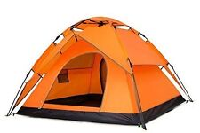 Instant Automatic Pop Up Backpacking Camping Hiking 3-4Persons Tent Orange