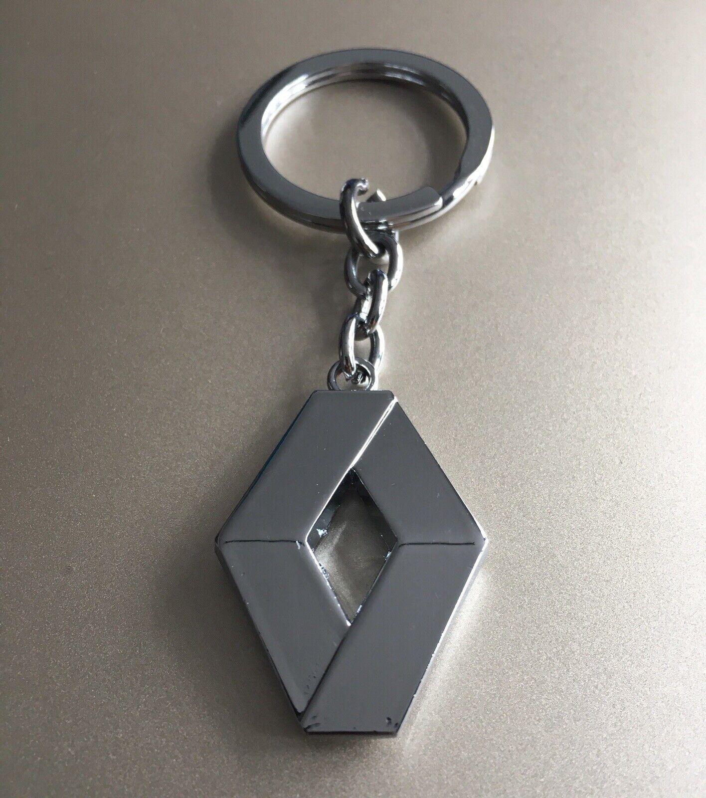 'RENAULT' Keyring Chrome Keychain Official Logo Silver Key Ring Car Metal Chain