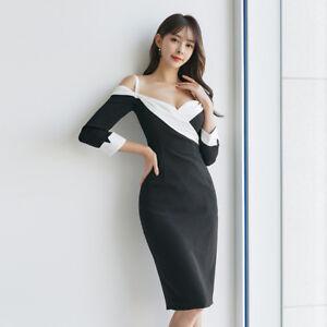 new product 052dc 0a6a2 Dettagli su Elegante vestito abito tubino bianco nero slim elegante morbido  ginocchio 4858