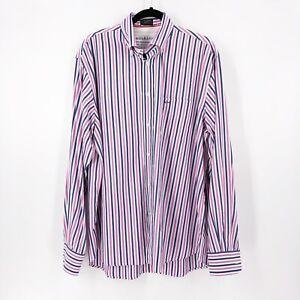 Paul-amp-Shark-Mens-Shir-Size-44-Striped-Cotton-Button-Front-Dress-Shirt-Yatching