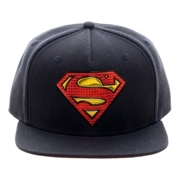 OFFICIAL DC COMICS SUPERMAN WELDED METAL SYMBOL NAVY BLUE SNAPBACK CAP (NEW)