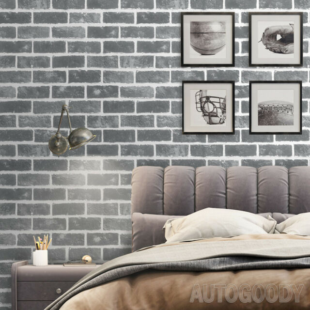 3d Faux Brick Stone Peel And Stick Wallpaper Rusty Dark Grey Bathroom Bedroom For Sale Online Ebay