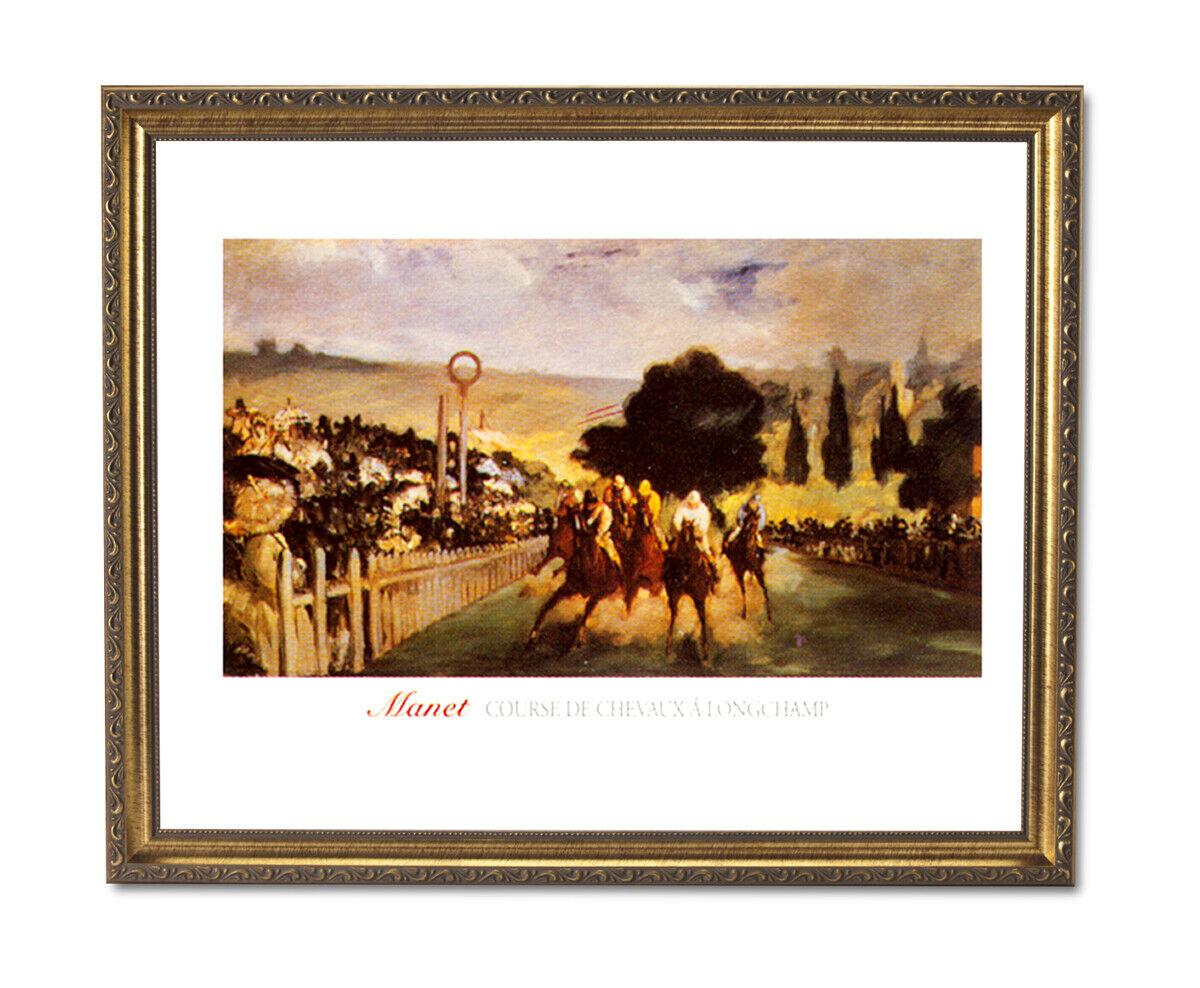 Horse Racing français herbe race animal Mur photo or encadré Art Imprimé