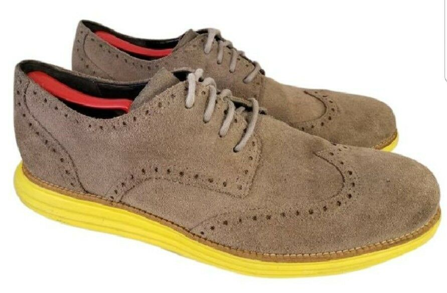 1f689401a0ce97 COLE GREEN HAAN LUNARGRAND MAN SHOES WINGTIP SUEDE GRAY GREEN COLE 13  OXFORDS ...