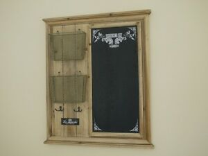 WOOD-NOTICE-BOARD-MEMO-CHALK-BOARD-WITH-HOOKS-AND-LETTER-RACKS-ideal-for-kitchen