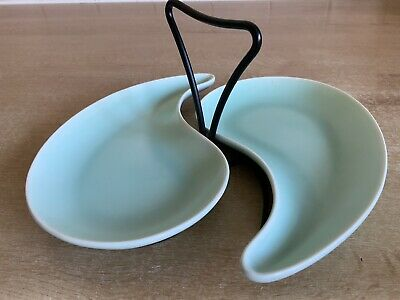 Pottery & China Burleigh/burgess & Leigh Honesty Burleigh Ware 2 X Shaped Pale Green Bon Bon Dishes On Metal Stand