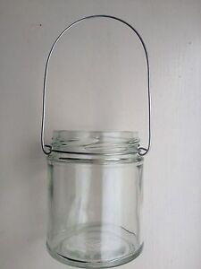 Hanging-glass-wire-Jam-jar-tea-light-candle-holder-lanterns-wedding-Cute-Rustic
