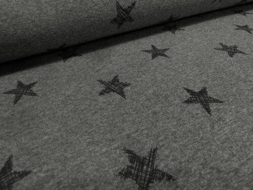 Stoff Sweatshirtstoff mit Alpenfleece Kritzel Sterne dunkelgrau grau schwarz