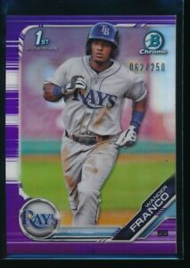 WANDER-FRANCO-2019-1st-Bowman-Chrome-PURPLE-REFRACTOR-250-Rays-Rookie-Card-RC