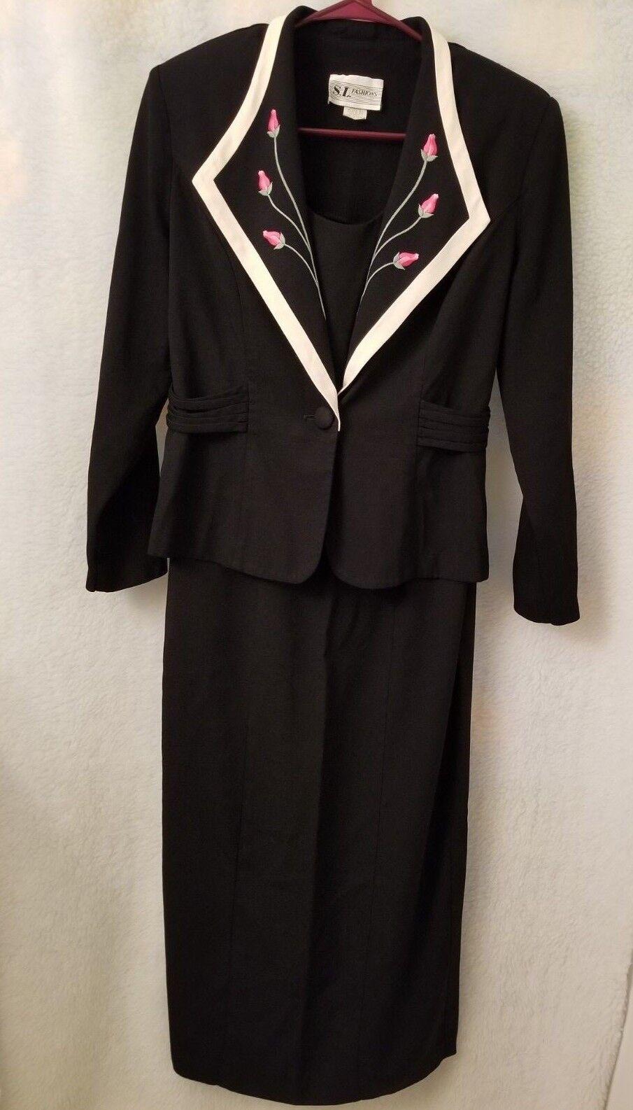 S.L. Fashions damen schwarz Rosa Ivory Grün Floral Jacket And Dress Set Größe 14