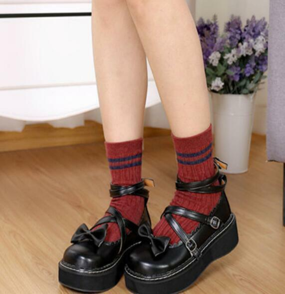 Womens Gothic Round Toe Bowknot Lolita Mary Jane Cross Strappy Platform shoes