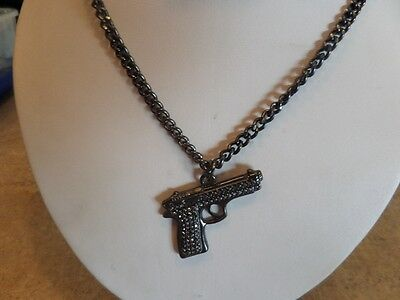 Dark Metalic Pistol Necklace