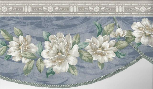 Wallpaper Border Magnolia Floral Blue Swag With Die Cut Edge Gray Molding at Top