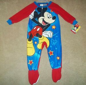 Disney Mickey Mouse Baby Boys Size 12M 12 Months Micro Fleece Footed Blanket Sleeper