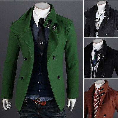 Fashion Men Peacoat Double Breasted Coat Warm Winter Long Jacket Outerwear Tops
