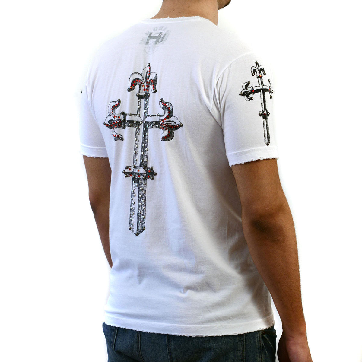 HARD 8 White T-shirt with rhinestone embellished graphics
