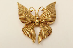 Beautiful-Vintage-Signed-NAPIER-Goldtone-BUTTERFLY-Brooch-Pin-G
