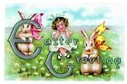 Bunnies and Girl Blank Easter Card by Laughing Elephant (Mixed media product, 2013)