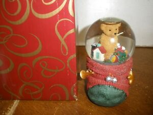 Details about The San Francisco Music Box Company Christmas Teddy Bear In  Stocking Waterglobe