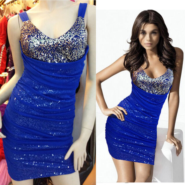 Womens Ladies sexy Sequin V neck bodycon cocktail party club short evening dress